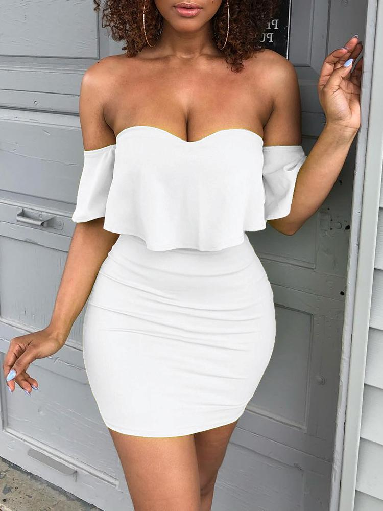 boutiquefeel / Solid Sweetheart Off Shoulder Mini Dress