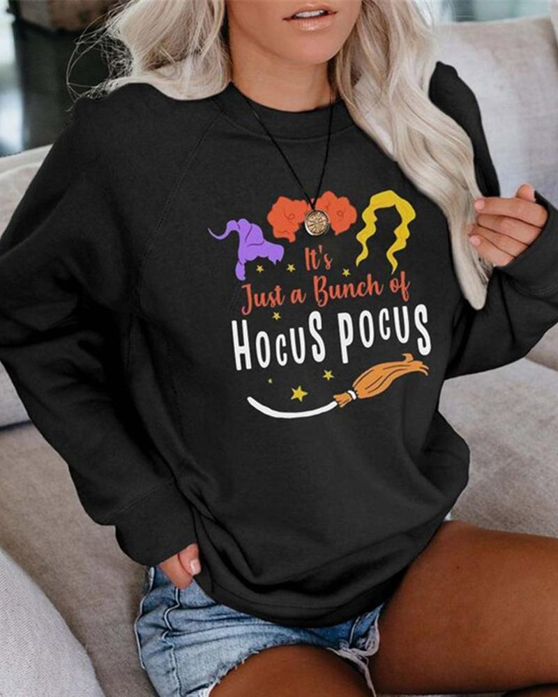 Halloween Letter Print Casual Sweatshirt thumbnail