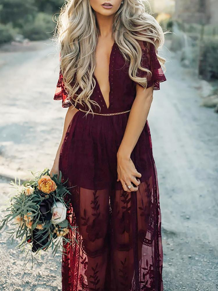 ba89e3a2cd87 Wine Red Stylish Lace Maxi Romper Dress Online. Discover hottest trend  fashion at chicme.com