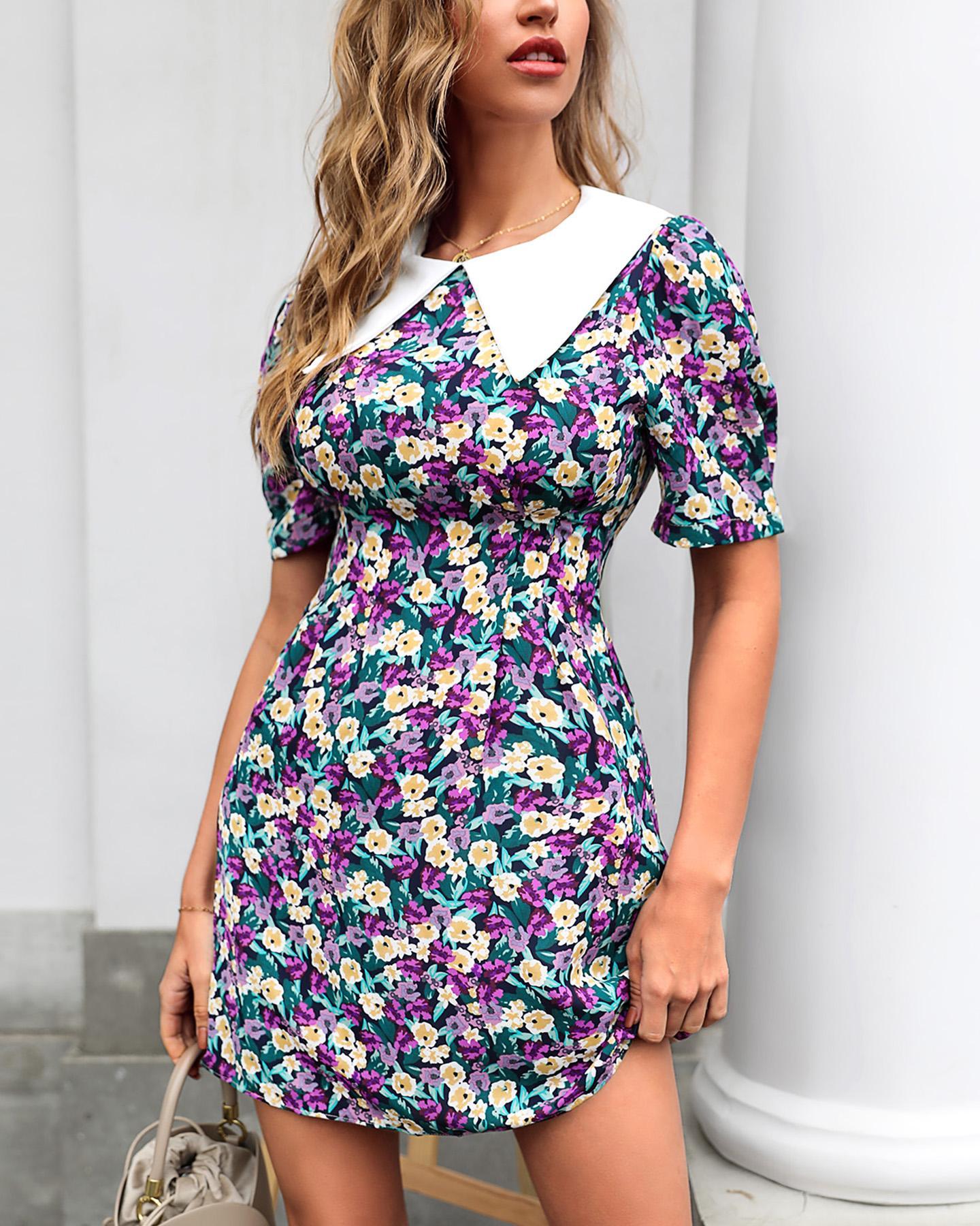 Doll Collar Puff Sleeve Floral Print Dress thumbnail