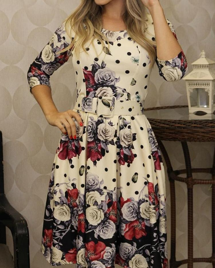 Floral Print Belted Casual Pleated Dress