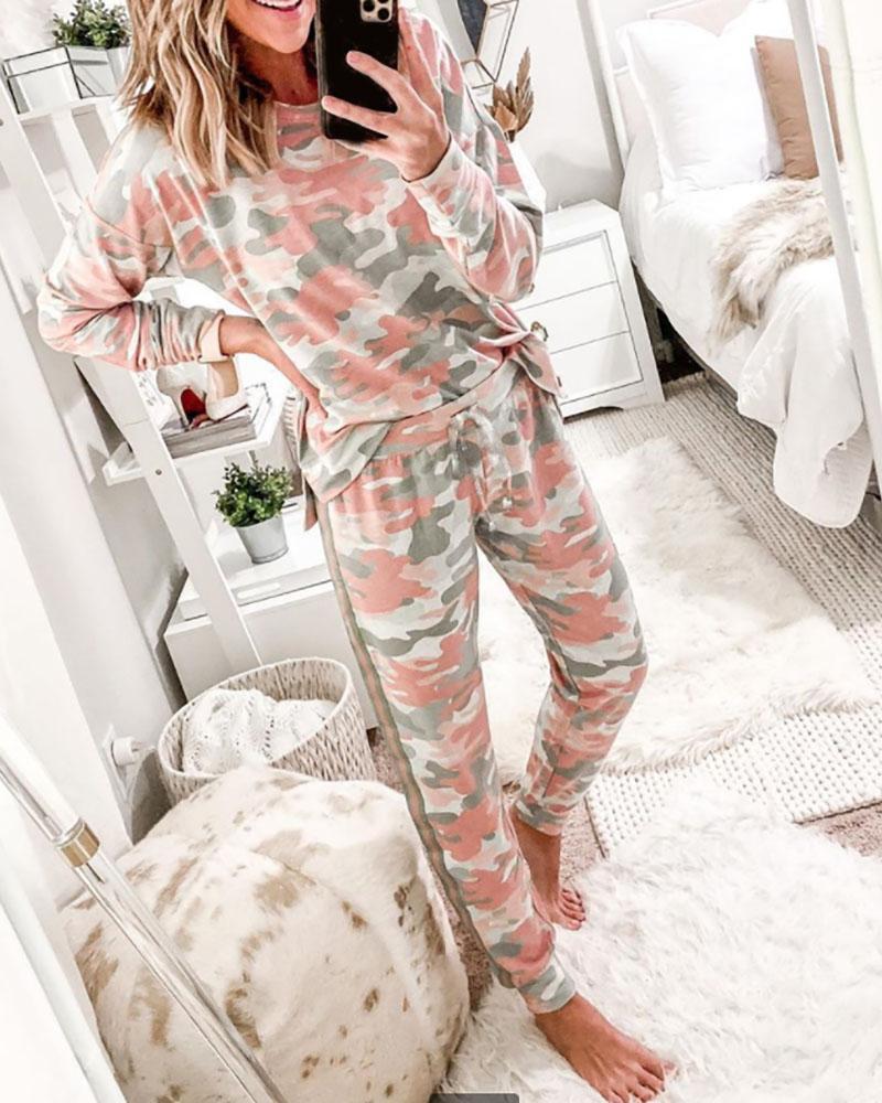 Camouflage Print Long Sleeve Top & Pants Set thumbnail