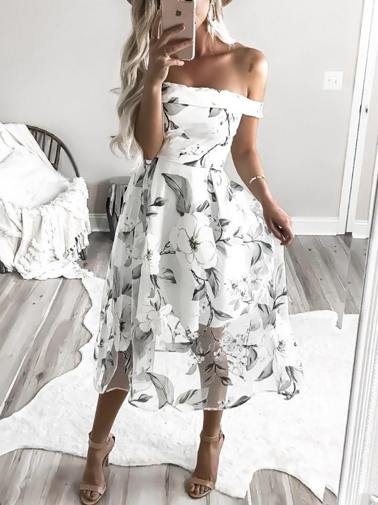 Floral Print Pleated Off Shoulder Organza Dress