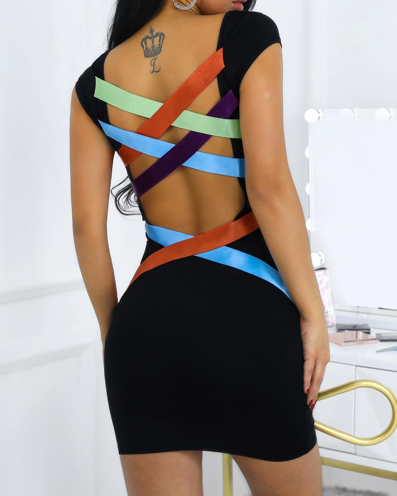 Colorblock Bandage Crisscross Bodycon Dress
