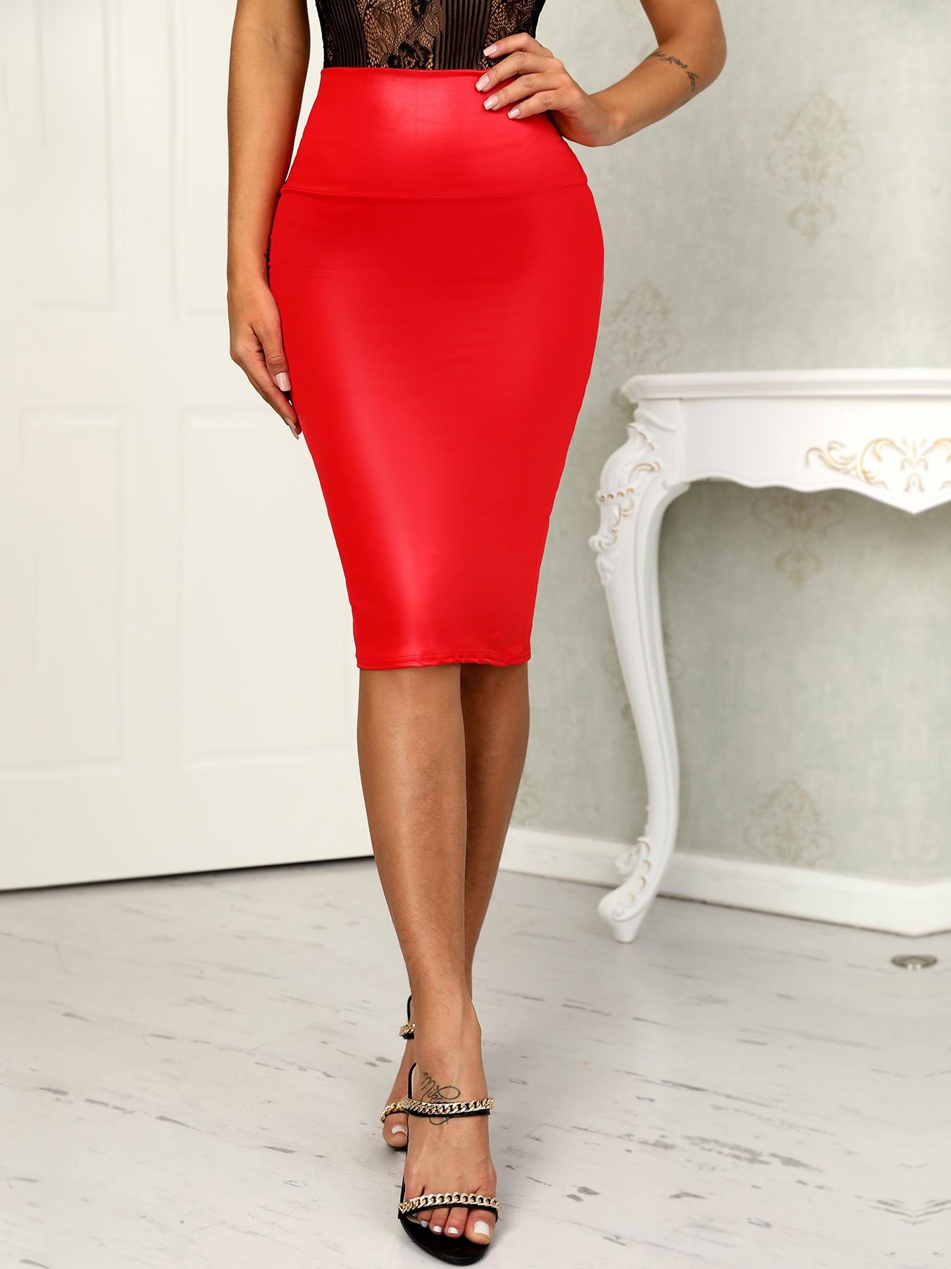 boutiquefeel / OL Style PU High Waist Slinky Skirts