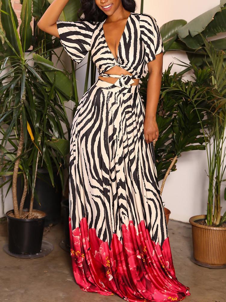 Zebra Print Scrunch Tied Waist Top & Maxi Skirt