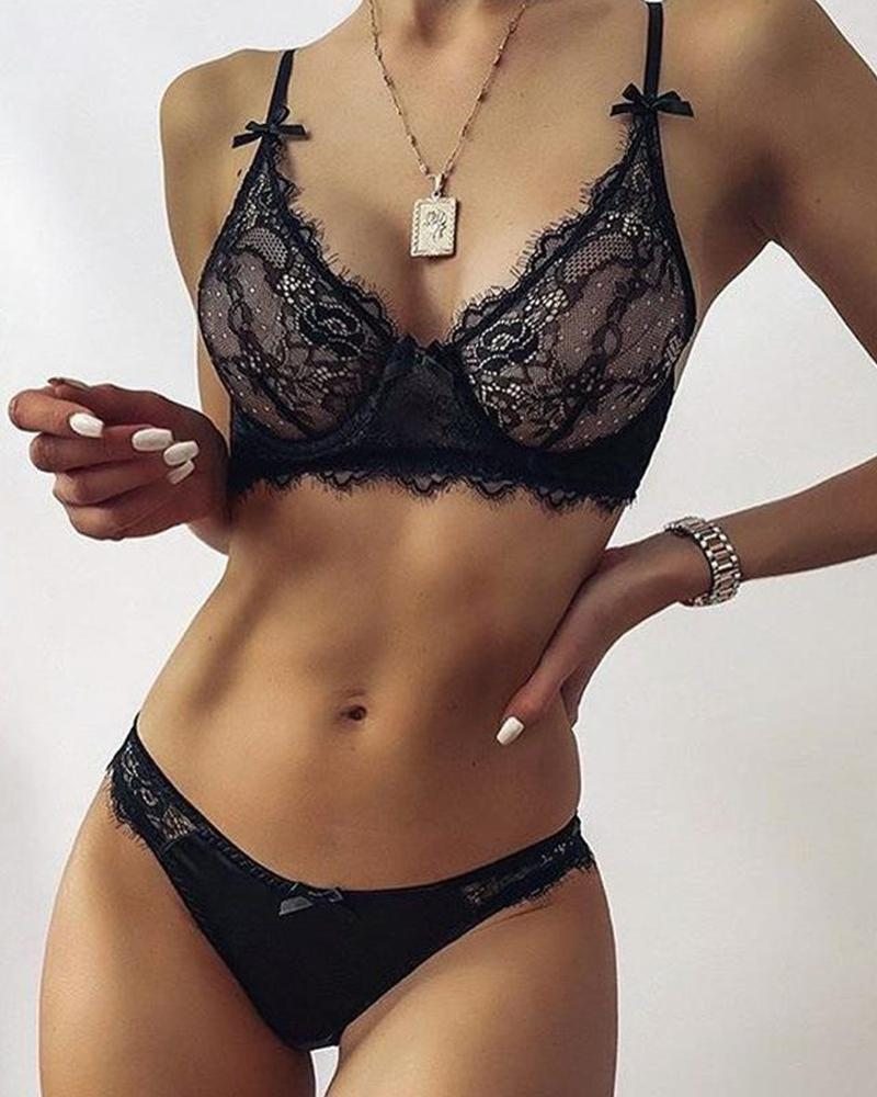 Solid Lace Mesh Bra With Panties Sexy Sets