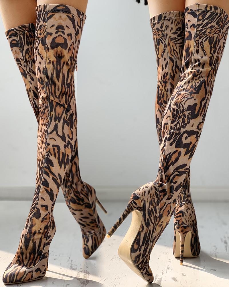 Leopard Print Thin Heeled Thigh High Boots thumbnail