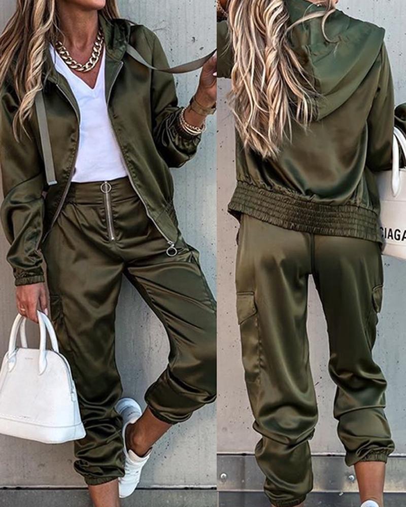 Solid Long Sleeve Loose Hoodies Suit Sets thumbnail