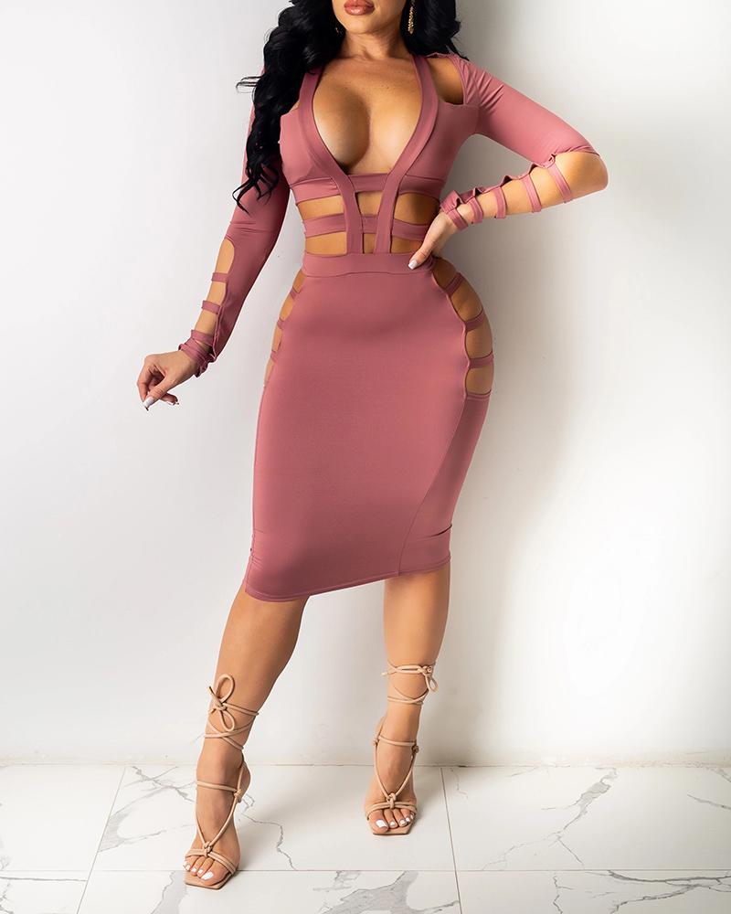Cutout Plain Plunge Long Sleeve Midi Dress, Pink