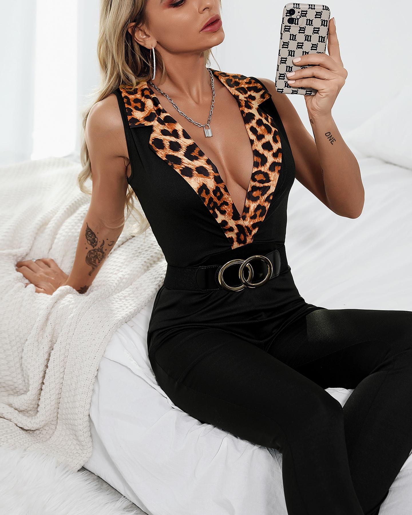 Leopard Print Plunge Sleeveless Skinny Jumpsuit