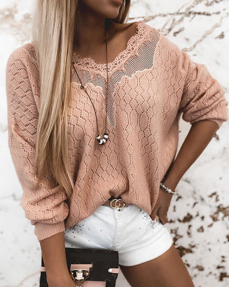 Lace Splicing Long Sleeve Loose Cut-out Loose Sweaters thumbnail