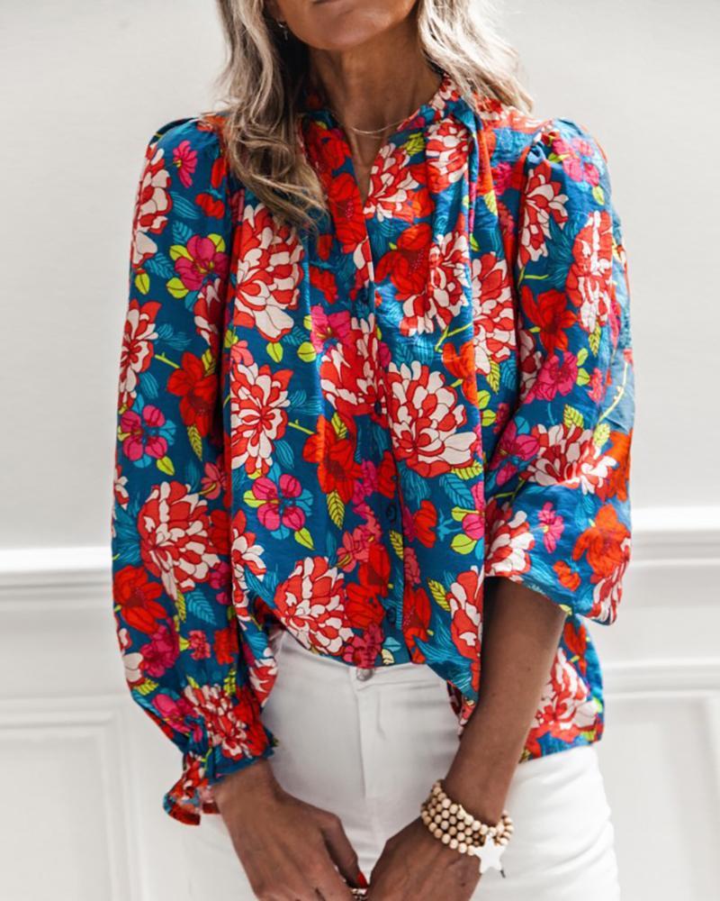 Floral Print Button Design Half Sleeve Shirt thumbnail