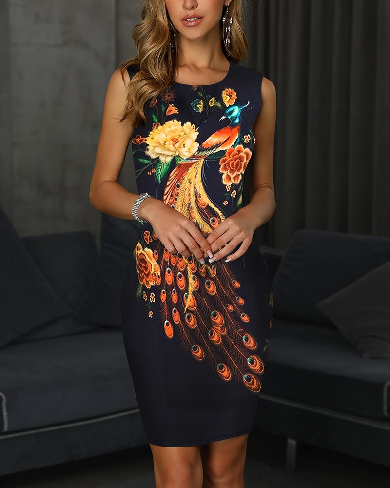 Floral Peacock Print Slit Back Bodycon Dress