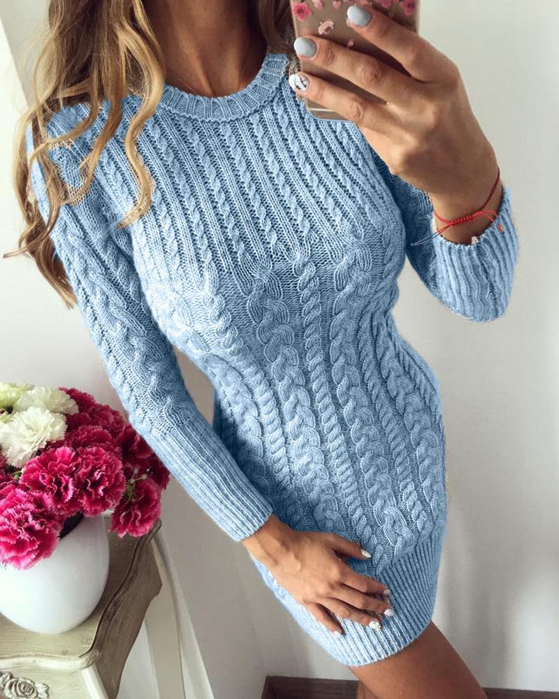 Solid Long Sleeve Knit Long Sleeve Dress thumbnail