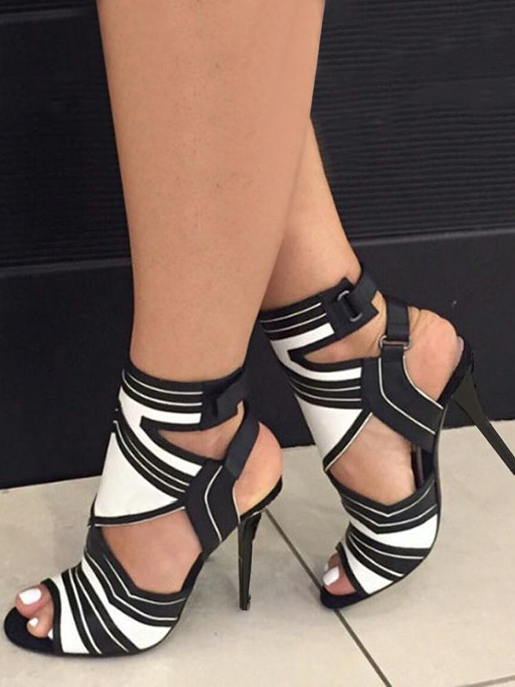 7ec553923c1 Contrast Color Cut Out Strappy High-heel Sandals Online. Discover hottest  trend fashion at chicme.com