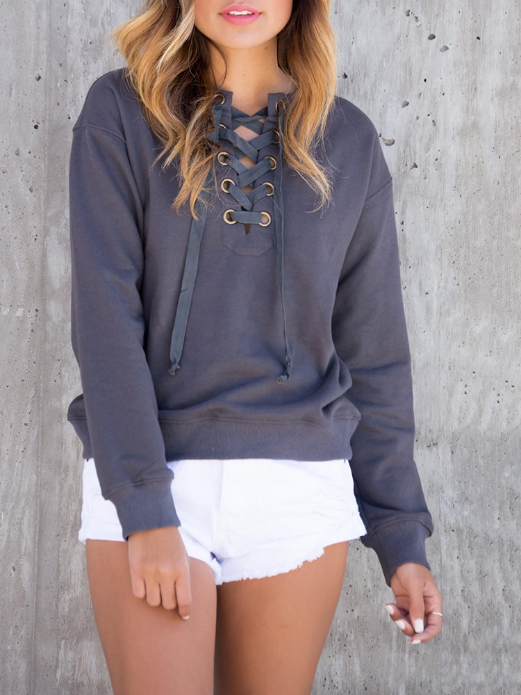 Women Long Sleeve Lace Up Casual Sweatshirts