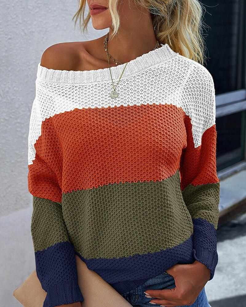 Striped Colorblock Long Sleeve Knit Sweater thumbnail