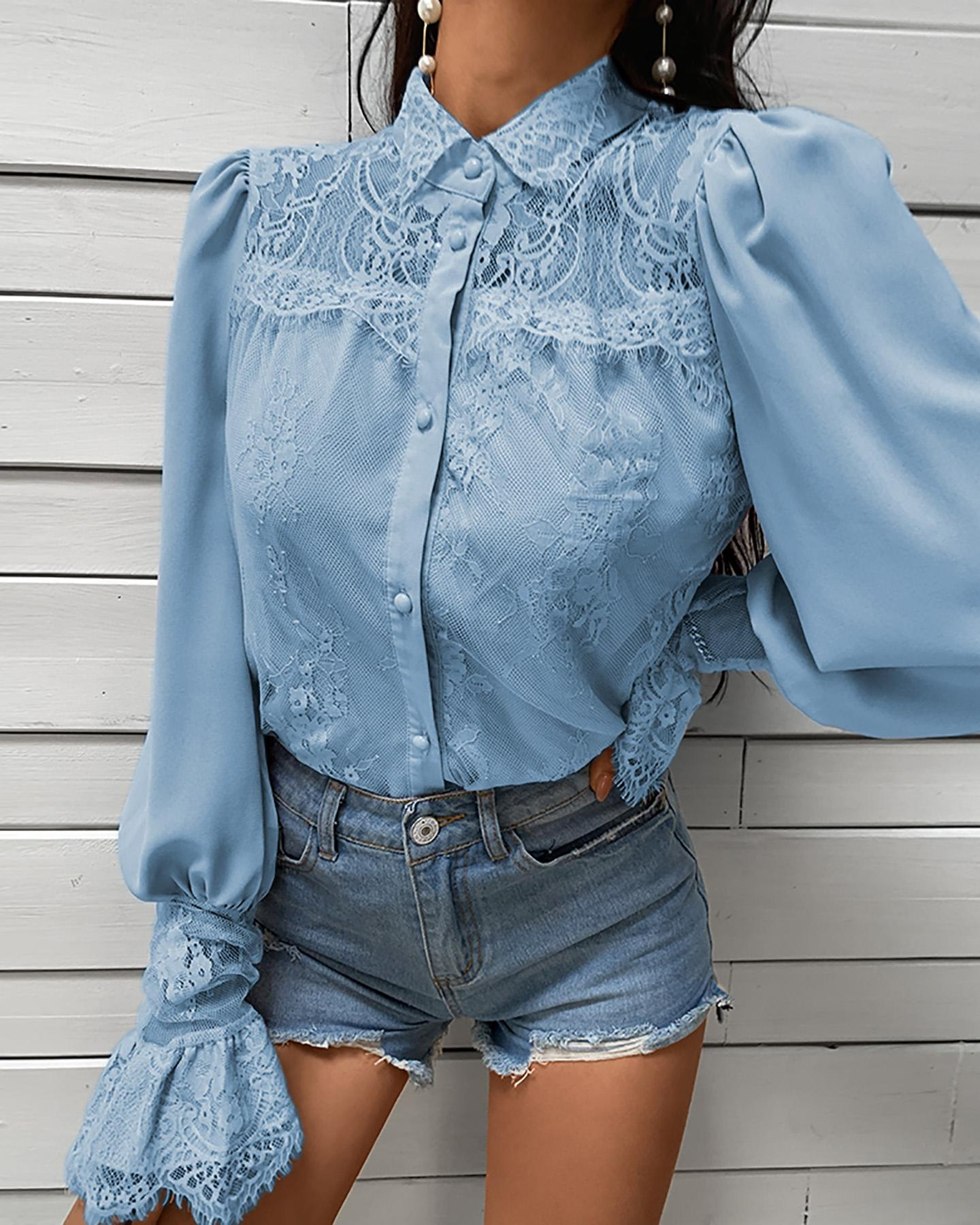 Lace Patchwork Puff Sleeve Buttoned Blouse thumbnail