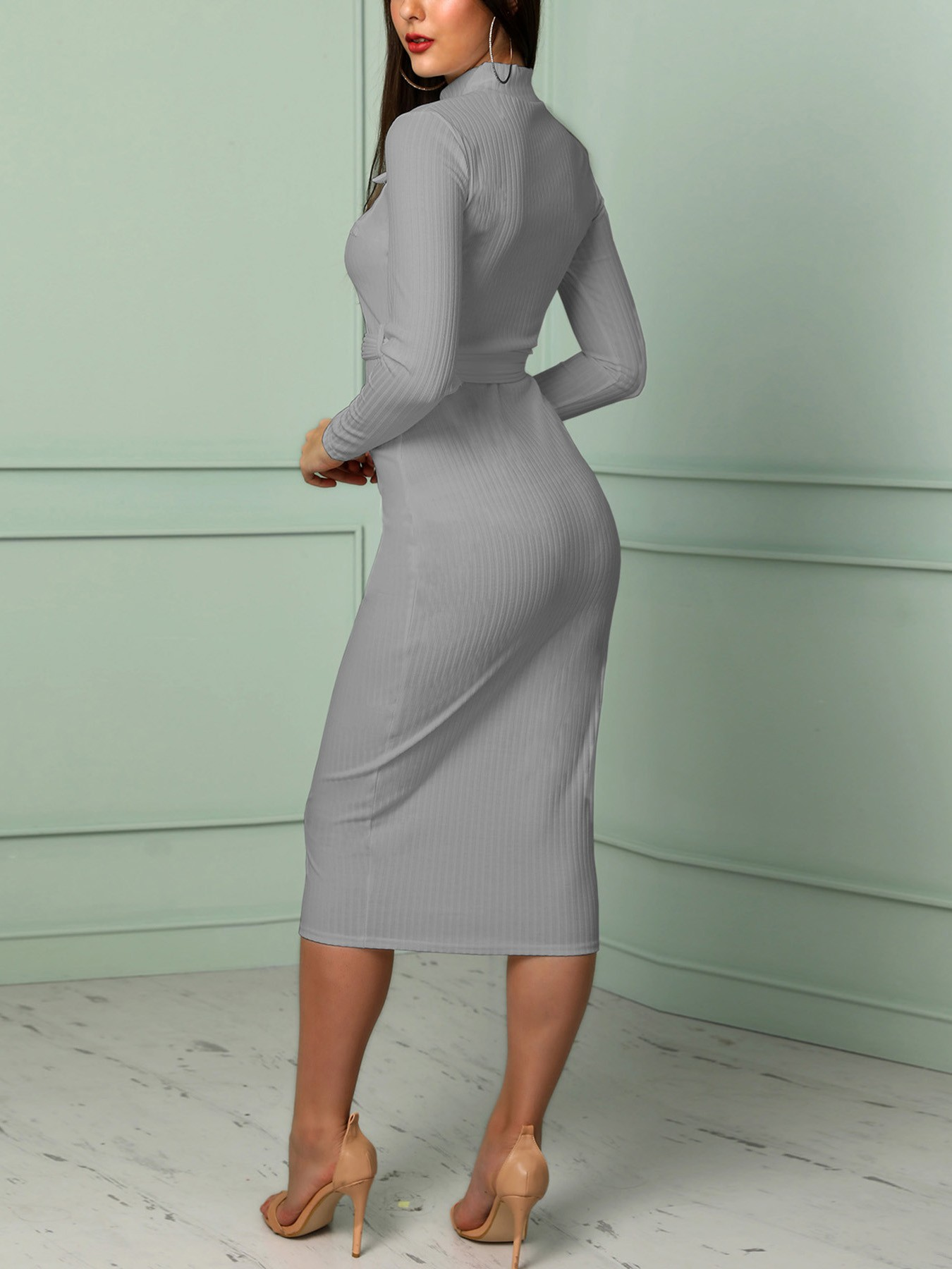boutiquefeel / Solid Pocket Design Belted Bodycon Maxi Dress