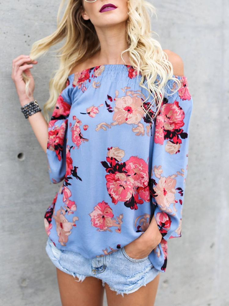 Fashion Off Shoulder Printed Blouse thumbnail