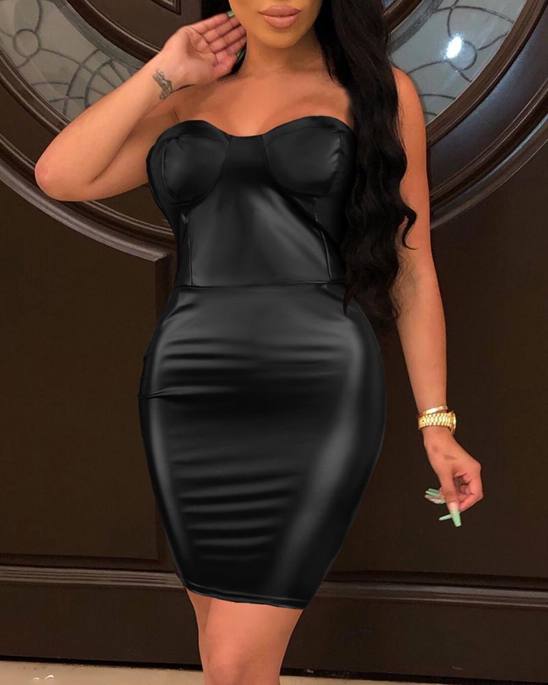 Bandeau Bustier Zipper Design Back Bodycon Dress thumbnail