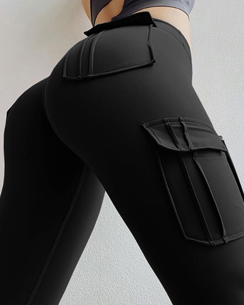Solid Pocket Design High Waist Pants thumbnail