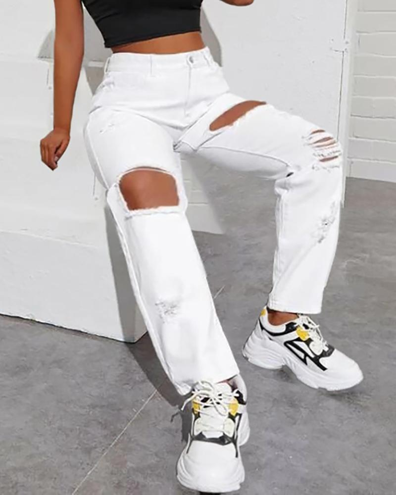 Cutout Ripped Casual Jeans thumbnail
