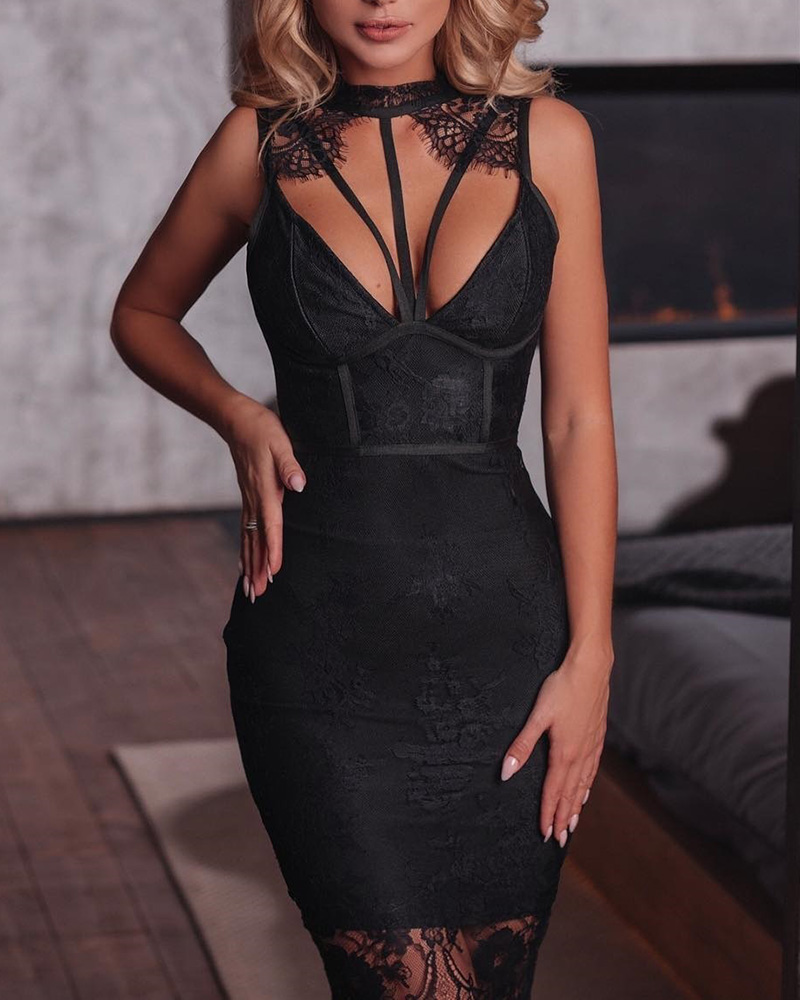 Bandage Design Choker Neck Eyelash Lace Dress