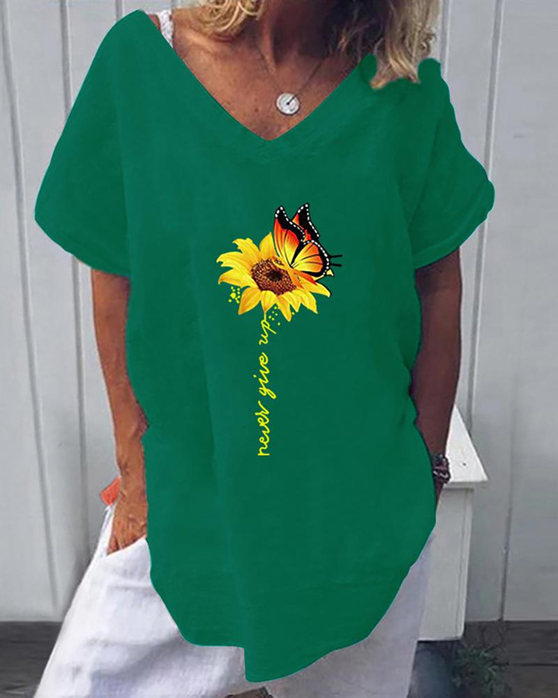 Sunflower Butterfly Print Letter Pattern Casual T-shirt thumbnail