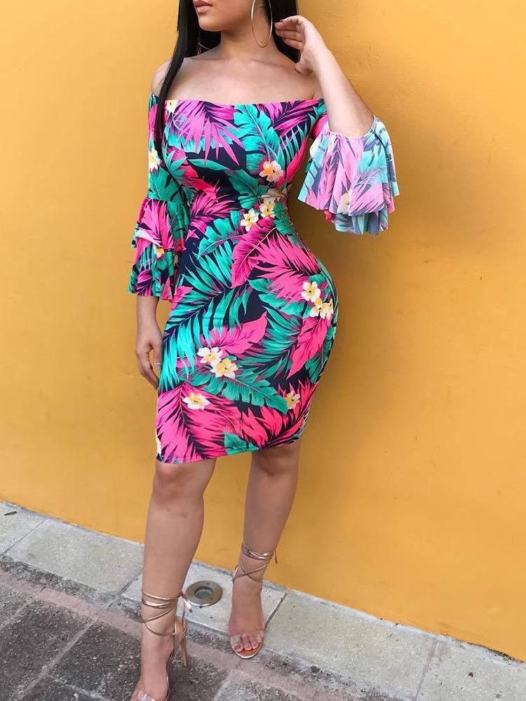 boutiquefeel / Tropical Print Tiered Sleeve Bodycon Dress