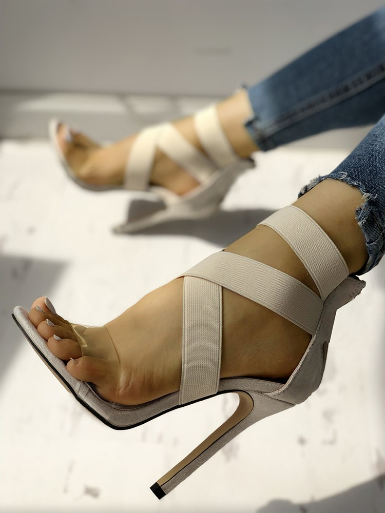 boutiquefeel / Transparent Crisscross Bandage Thin Heeled Sandals