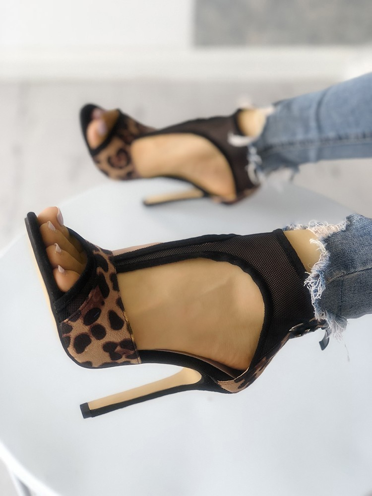 boutiquefeel / Leopard Mesh Thin Heeled Sandals