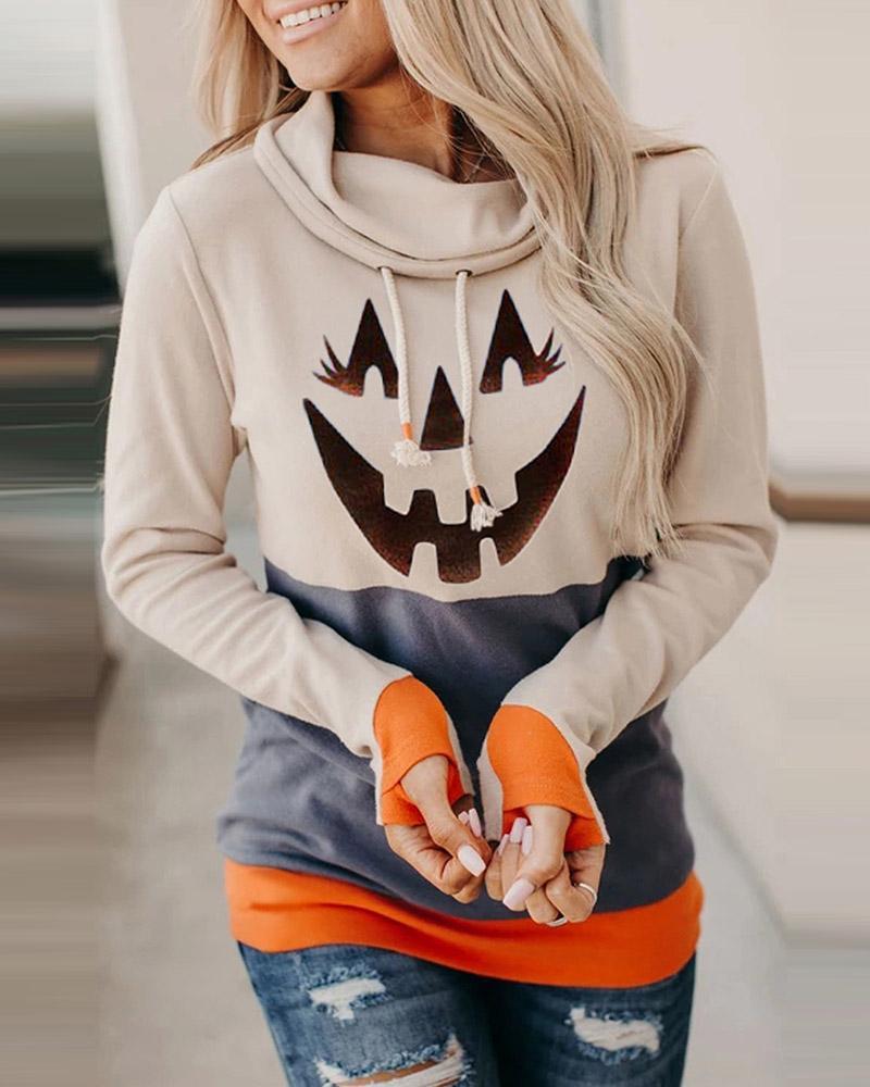 Halloween Pumpkin Colorblock Long Sleeve Hooded Top thumbnail