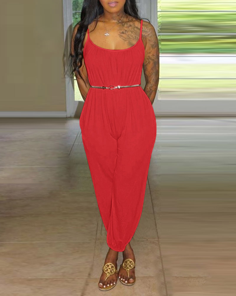 Solid Tied Cuffed Casual Jumpsuit thumbnail