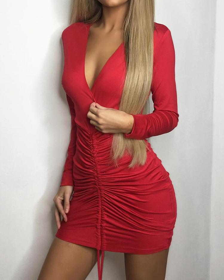 Skinny Front Pleated Deep V Neck Mini Dress Online Discover Hottest