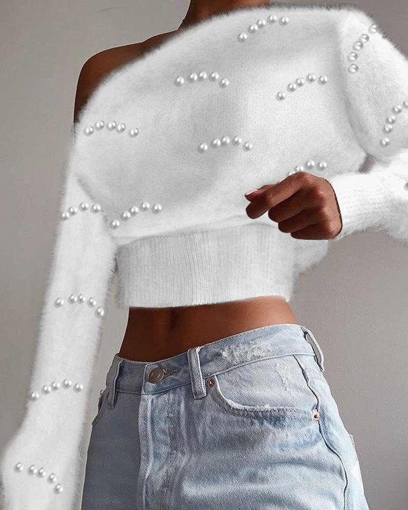 Beaded Long Sleeve Fluffy Crop Sweater