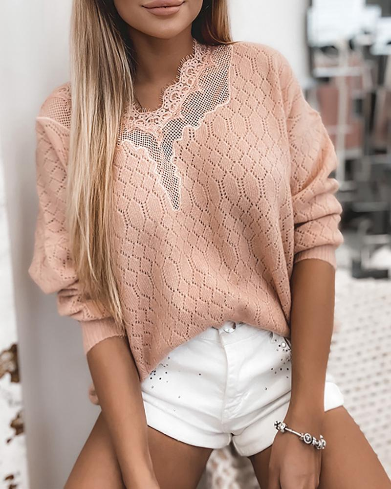 Lace Splicing Long Sleeve Hollow Out Sweater thumbnail