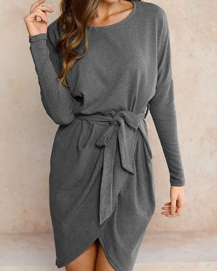 Joyshoetique coupon: Trendy Batwing Sleeve Tied Waist Irregular Casual Dress