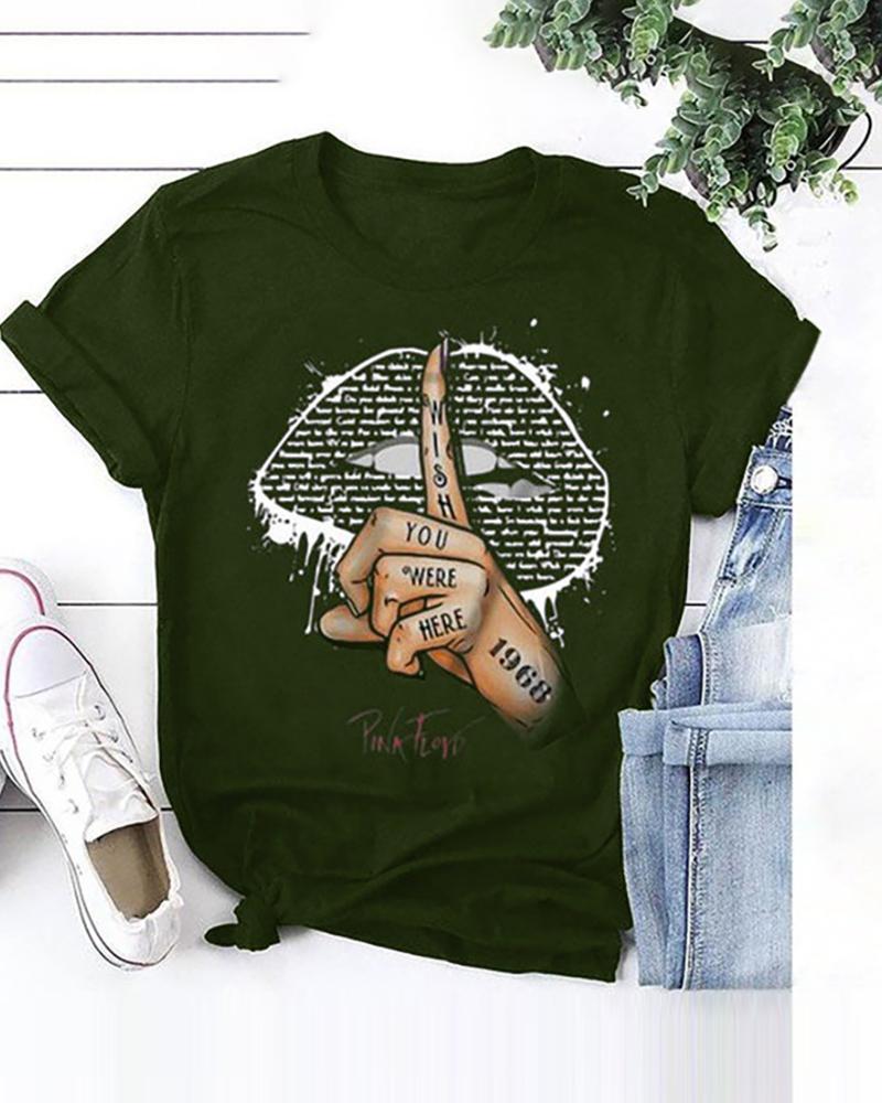 Lip/Signal Print Short Sleeve Casual T-shirt thumbnail
