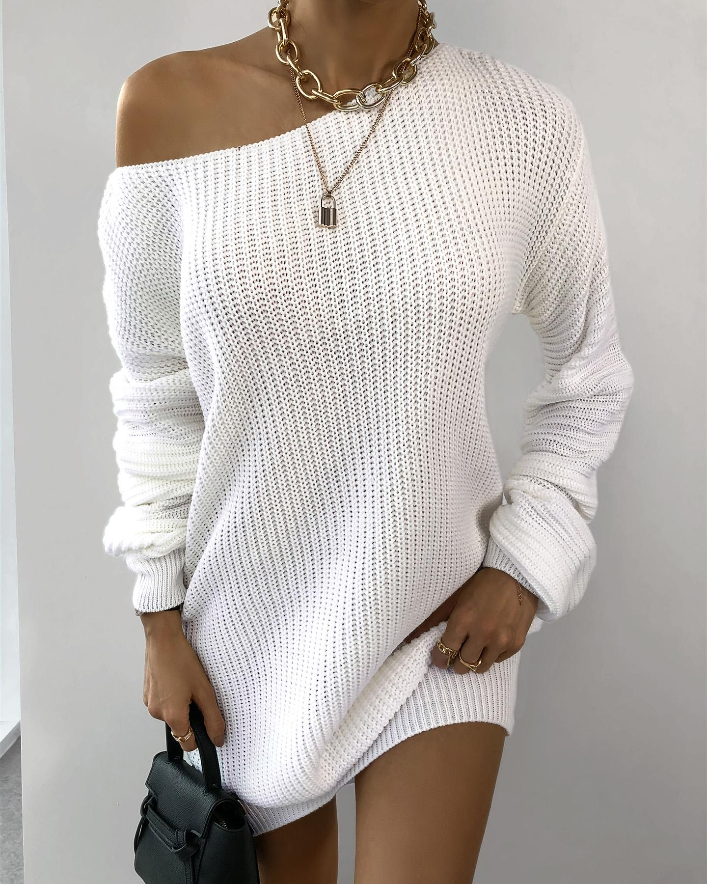 One Shoulder Lantern Sleeve Knit Dress thumbnail