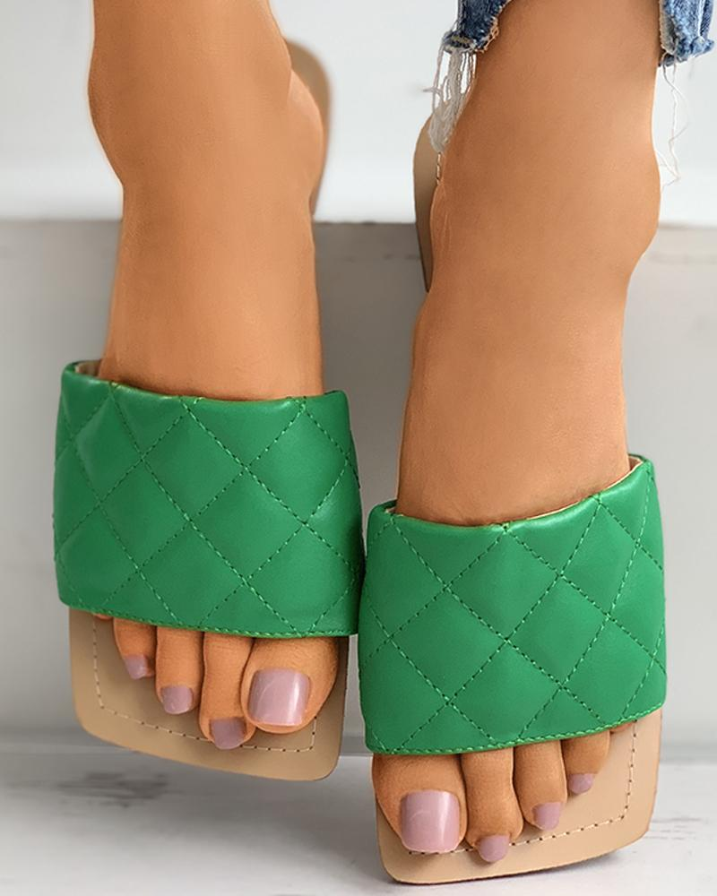 Quilted Square Toe Mule Sliders thumbnail