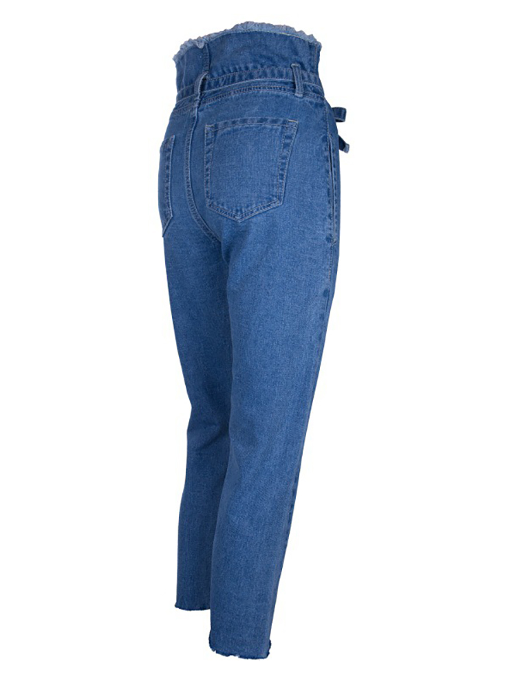 boutiquefeel / Denim Fringes Self-Belted Roll-Up Pencil Pants