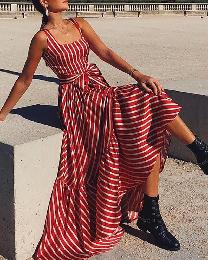 Striped Thick Strap Maxi Dress thumbnail