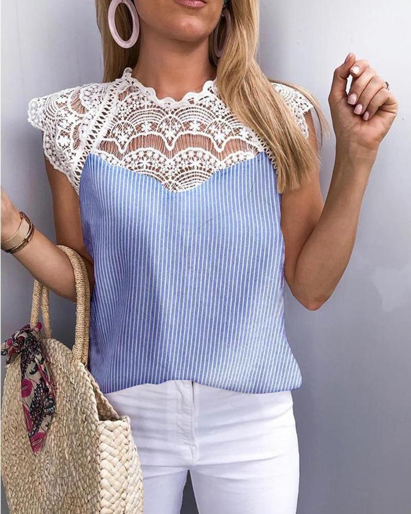 Striped Crochet Lace Hollow Out Blouse thumbnail