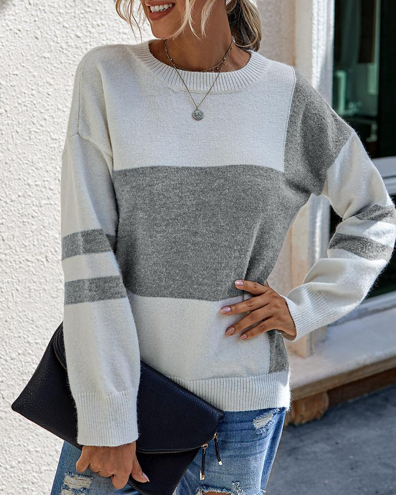 Colorblock Long Sleeve Casual Sweaters thumbnail