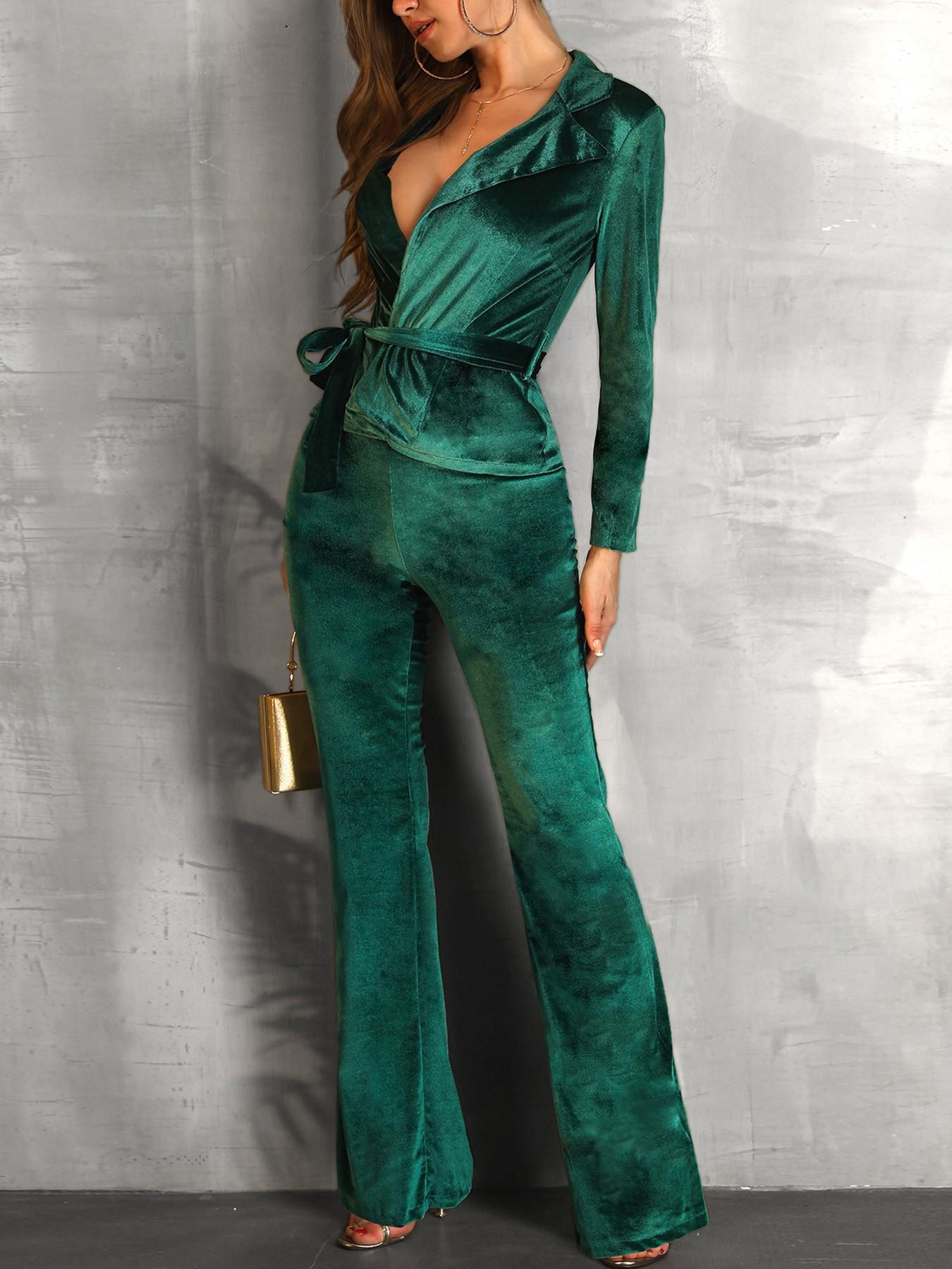boutiquefeel / Velvet Wrapped Tied Waist Suit Sets