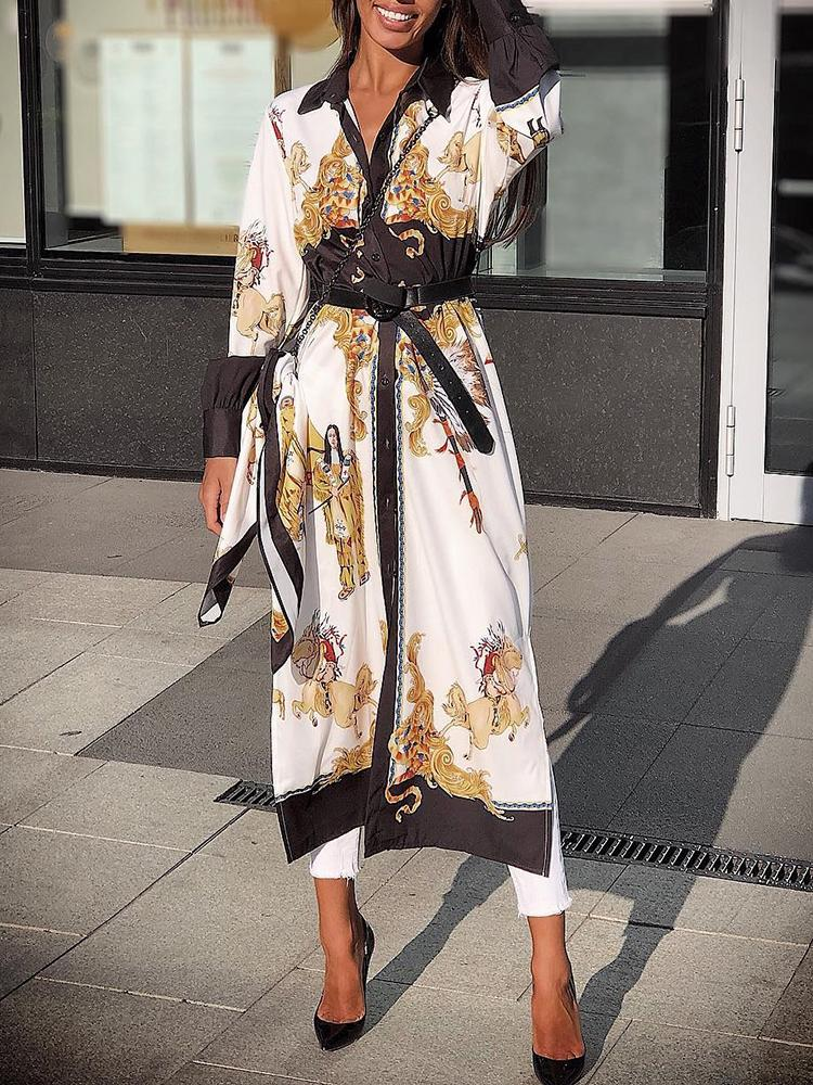Baroque Print Long Sleeve Shirt Dress