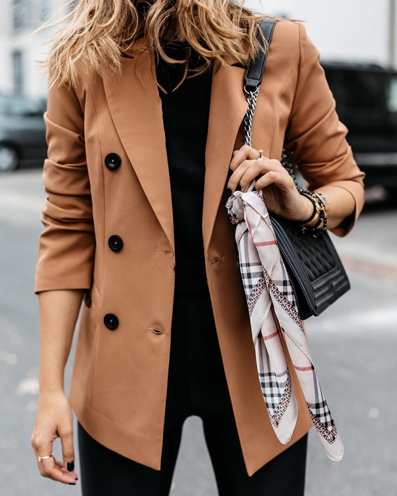 Solid Long Sleeve Double Breasted Blazer Coat