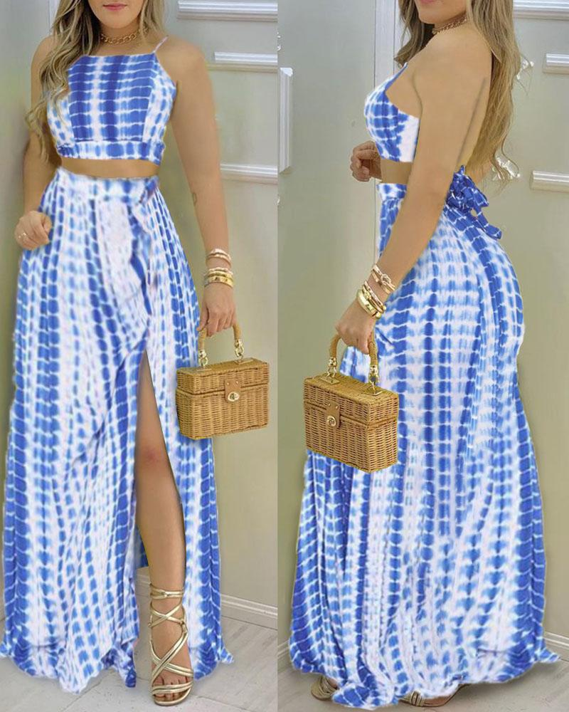Retro Patterns Print Strap Cropped Tanks With Slit Long Skirts Skirt Sets, Blue